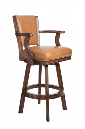Darafeev's #600 Upholstered Swivel Wood Stool with Arms in Tobacco Oak Finish