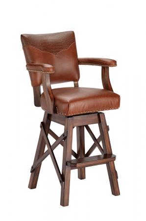 Darafeev's El Dorado II Upholstered Swivel Bar Stool with Multiple Upholsteries on Back Cushion