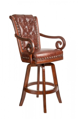 Darafeev's Pizarro Wood Upholstered Swivel Bar Stool with Arms, Nailhead Trim, and Button-Tufted Back