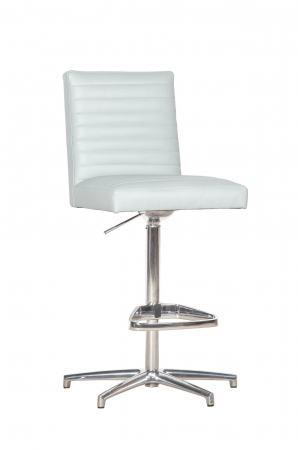 Fairfield's Uma Channel Quilting Barstool in White Upholstered Back and Seat and Nickel Base Metal Finish - Tall Seat Height
