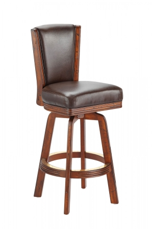 Darafeev's #915 Flexback Upholstered Swivel Wooden Stool with Back in Brown Finish