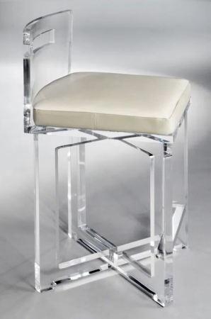 Muniz's Candy Acrylic Bar Stool with Low Back and Seat Cushion and X-Base