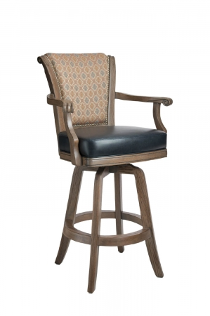 Darafeev's Classic Wooden Upholstered Swivel Bar Stool with Arms and Nailhead Trim