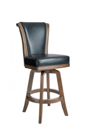 Darafeev's Classic Traditional Wooden Upholstered Swivel Stool with Back and Nailhead Trim