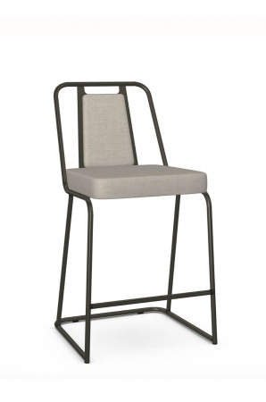 Amisco's Cassidy Modern Stationary Bar Stool with Sled Base and Upholstered Back/Seat