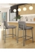 Amisco's Waverly Stationary Modern Bar Stool with Low Back in Light Gray in Modern Brown and White Kitchen
