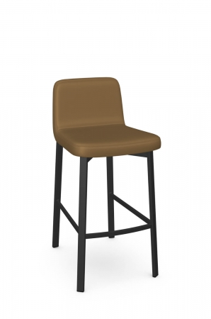 Amisco's Waverly Upholstered Short Back Bar Stool in Brown