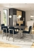 Amisco's Waverly Modern Blue Dining Chairs in Large Open Concept Dining Room