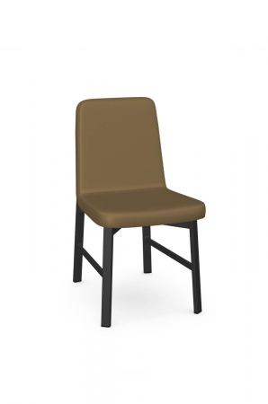 Amisco's Waverly Brown Dining Chair with Upholstered Back and Metal Base