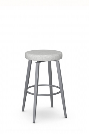 Amisco's Zip Backless Swivel Bar Stool in Gray and Silver