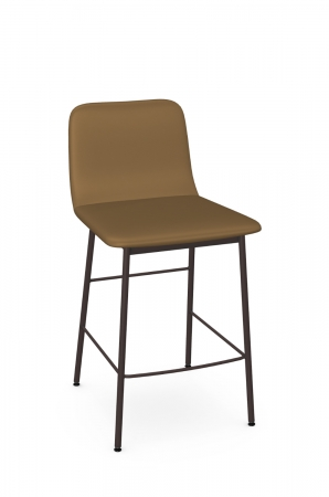 Amisco's Outback Upholstered Modern Bar Stool in Brown with Back