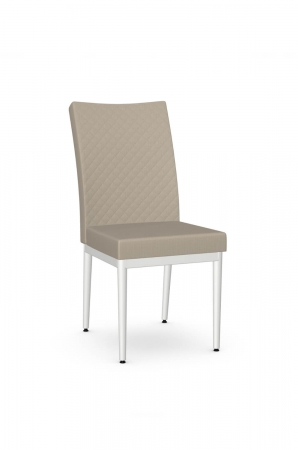 Amisco's Marlon Quilted Transitional Dining Chair with Tan Fabric and White Metal Base