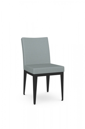 Amisco's Pedro Modern Comfortable Dining Chair with Blue Seat and Back Fabric and Black Metal Base