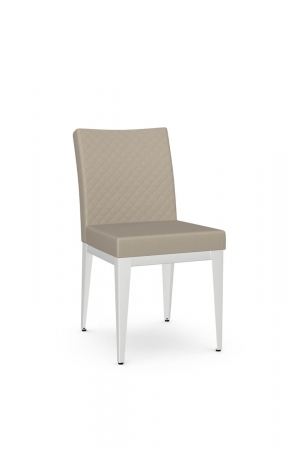 Amisco's Pedro Quilted Contemporary Dining Chair in White and Tan