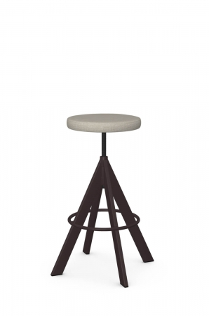 Amisco's Uplift Backless Brown Swivel Adjustable Stool with Seat Cushion
