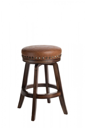 Darafeev's Milano Backless Wood Swivel Bar Stool with Nailhead Trim