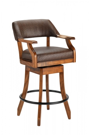 Darafeev's Patriot Wood Upholstered Swivel Bar Stool with Arms
