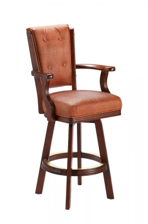 Darafeev's 960 Wood Upholstered Swivel Bar Stool with High Back, Arms, and Button-Tufting on Back