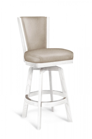 Darafeev's 615 Maple Wood Swivel Bar Stool with Back in Rustic Driftwood Whitewash Finish