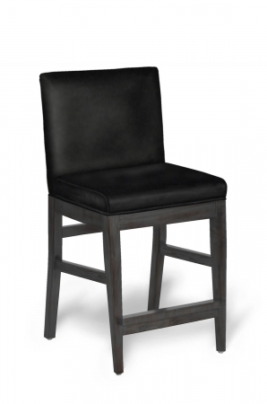 Darafeev's Roncy Modern Wood Bar Stool with Padded Seat and Back in Gray Black