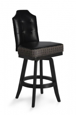 Darafeev's San Marino Black Luxury Swivel Counter Stool with Button-Tufting on Back