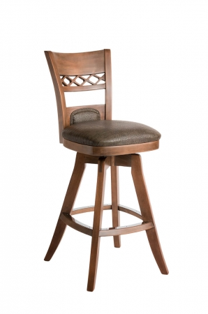 Darafeev's Verona Wood Upholstered Swivel Bar Stool with Flex Back and Seat Cushion