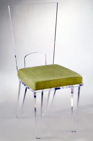 Muniz Michelle Acrylic Modern Dining Chair With Tall Back and Green Seat Cushion - Customizable