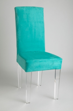 Muniz Elite Acrylic Dining Chair with Upholstered Back and Seat in Seafoam Green - Customizable
