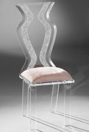 Muniz Monaco/Wynter Clear Acrylic Modern Dining Chair with Zig Zag Back Design and Seat Cushion