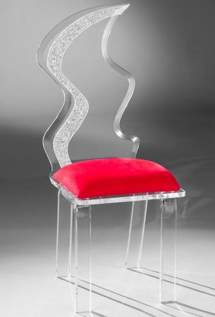Muniz Glacier Clear Acrylic Modern Dining Chair with Red Seat Cushion