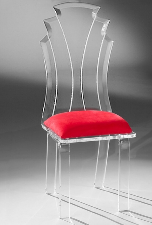 Muniz Tiffany Acrylic Modern Dining Chair with Red Seat Cushion