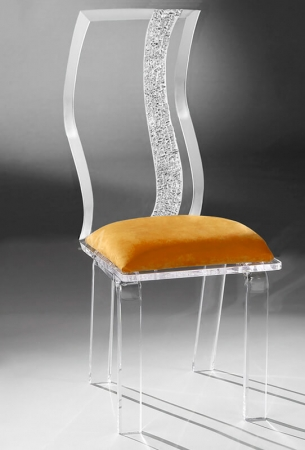 Muniz Wave Clear Acrylic Modern Dining Chair with Tall Back and Seat Cushion