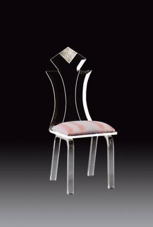 Muniz Diamond Clear Acrylic Modern Dining Chair with Seat Cushion