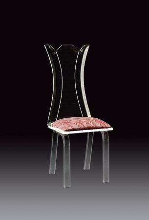 Muniz Flower Clear Acrylic Modern Dining Chair with Seat Cushion