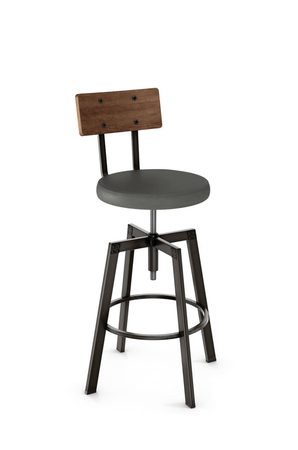 Amisco Architect Screw Stool with Wood Backrest and Metal Frame