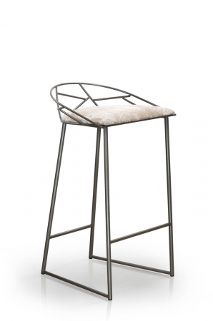 Trica's Stem Modern Stationary Bar Stool with Low Back and Seat Cushion and Sled Base