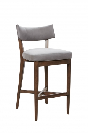 Fairfield's Juliet Modern Wood Bar Stool with Curved Upholstered Back and Seat