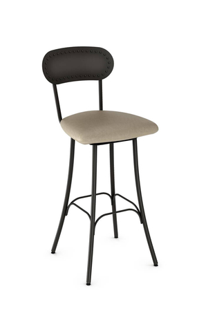 Amisco Bean Swivel Stool with Bean-Shaped Backrest and Deep Seat