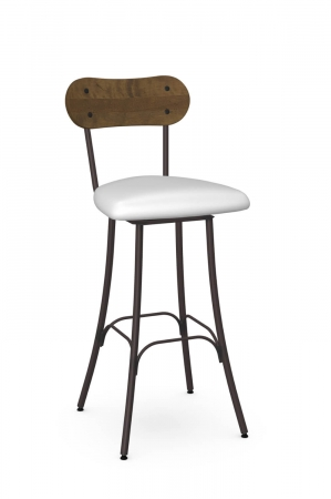 Amisco's Bean Swivel Transitional Bar Stool with Bean Shaped Hammered Wood Back, White Seat Cushion, and Espresso Metal Frame