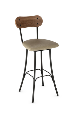 Amisco Bean Swivel Stool with Wood Backrest and Seat Cushion