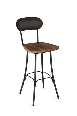 Amisco Bean Swivel Stool with Hammered Metal Backrest and Wood Seat