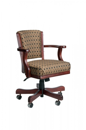 Darafeev's 960 Upholstered Arm Game Club Chair in Wood Frame