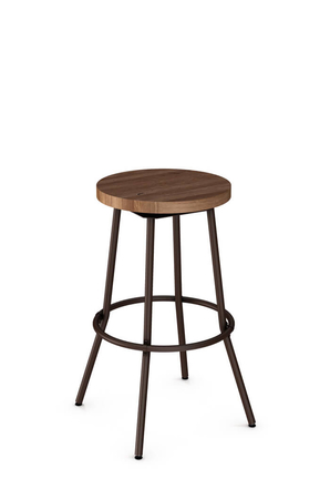 Amisco Bluffton Swivel Stool with Wood Seat