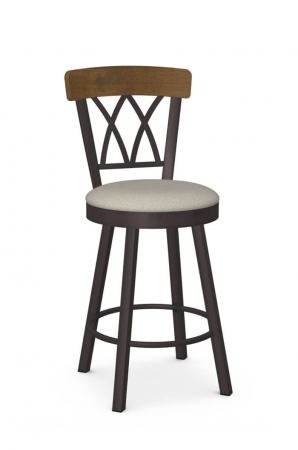 Amisco's Brittany Traditional Swivel Bar Stool with Cross Back Design, Metal Frame, and Seat Cushion