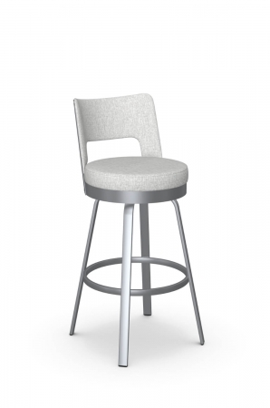 Amisco's Brock Low Back Swivel Bar Stool in Silver Metal and White Fabric