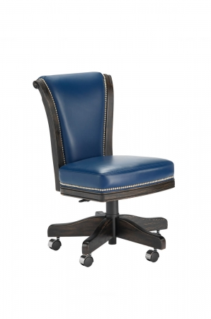 Darafeev's Classic Flexback Upholstered Oak Wood Game Chair with Nailhead Trim