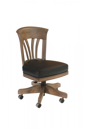 Darafeev's Flexback Swivel Game Chair in Maple with Leather Seat Cushion
