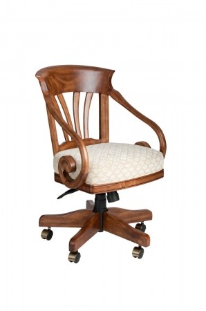 Darafeev's Nomad Maple Swivel Dining Arm Chair with Seat Cushion - Adjustable Height and Recline Back Functions