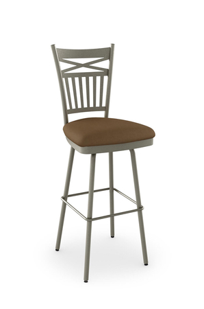 Amisco Garden Swivel Stool with Cross and Mission Style Back