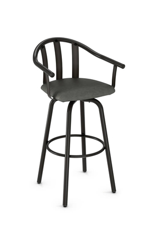Amisco Gatlin Swivel Stool with Slatted Backrest